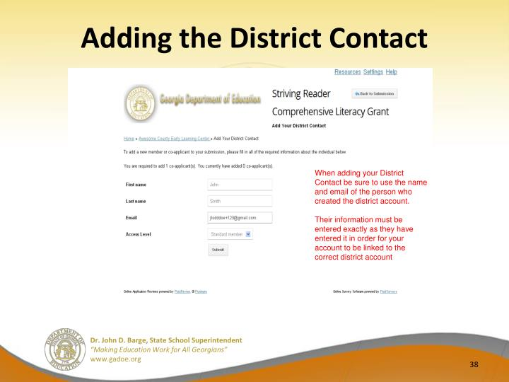 Adding the District Contact