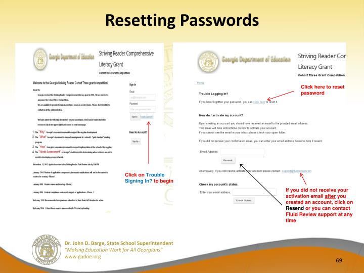 Resetting Passwords
