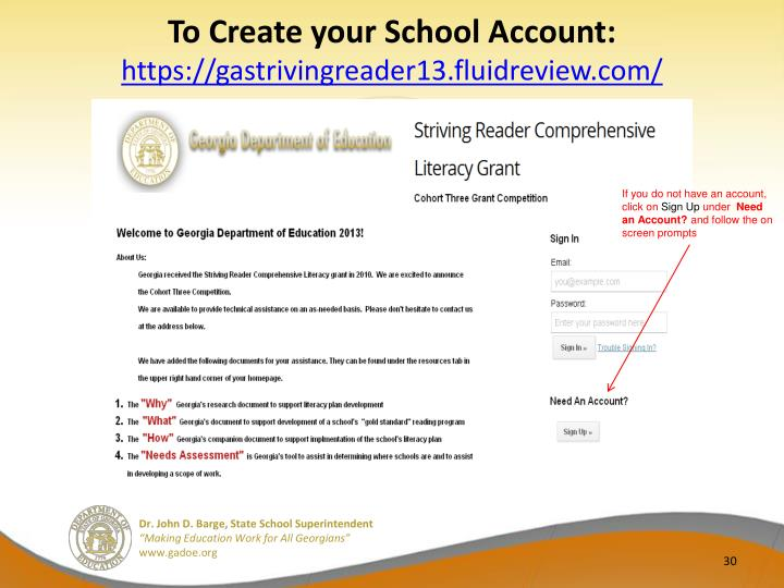 To Create your School Account: