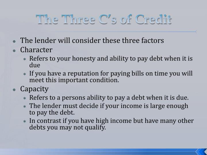 The three c s of credit