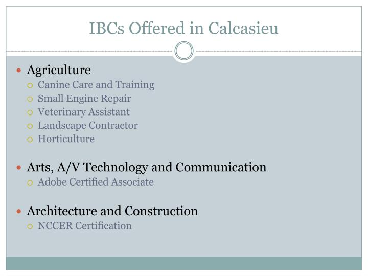 IBCs Offered in Calcasieu