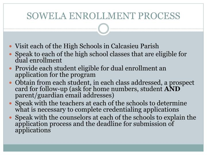 SOWELA ENROLLMENT PROCESS