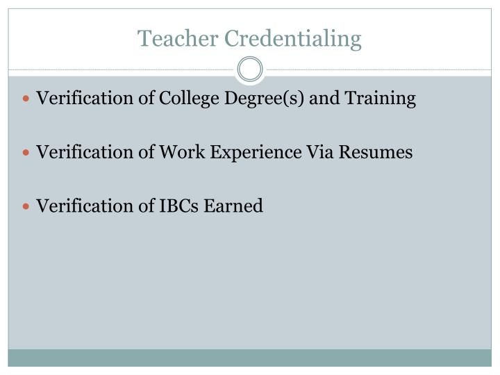 Teacher Credentialing