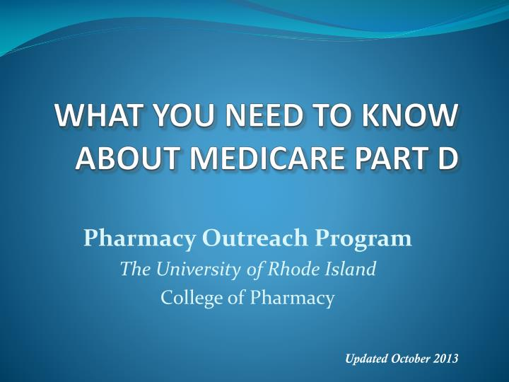 What you need to know about medicare part d