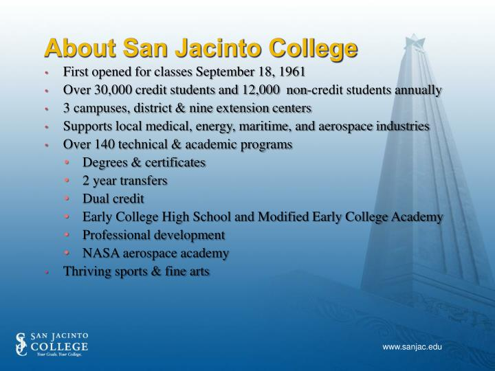 About san jacinto college