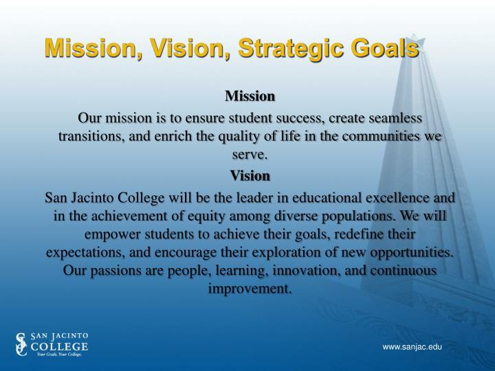 Mission, Vision, Strategic Goals