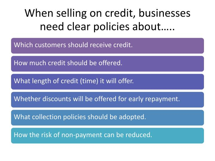 When selling on credit businesses need clear policies about