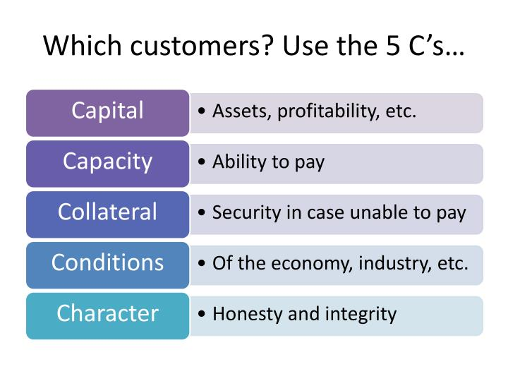 Which customers? Use the 5 C's…