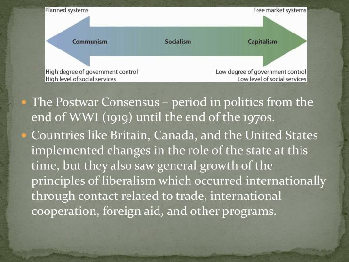 The Postwar Consensus – period in politics from the end of WWI (1919) until the end of the 1970s.