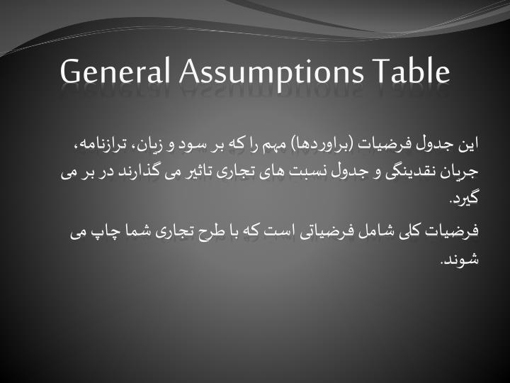 General Assumptions Table