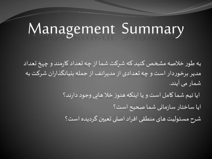 Management  Summary
