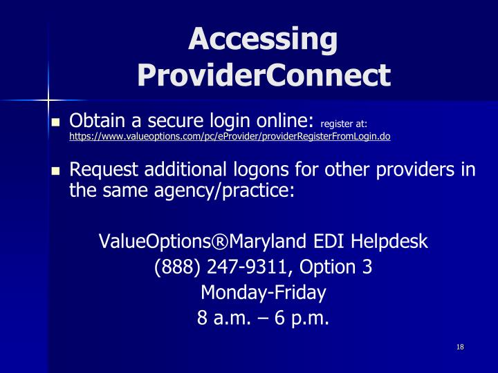 Accessing ProviderConnect