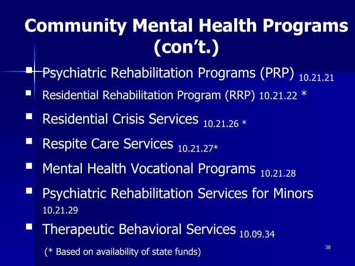Community Mental Health Programs (