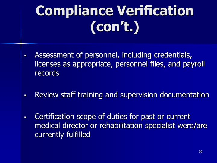 Compliance Verification (