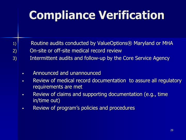 Compliance Verification