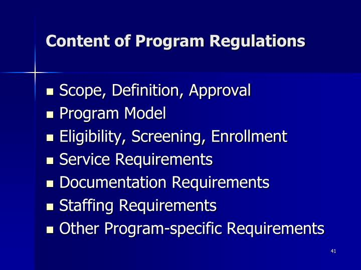 Content of Program Regulations