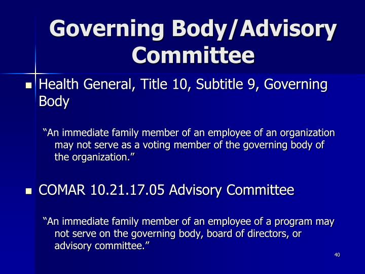 Governing Body/Advisory Committee