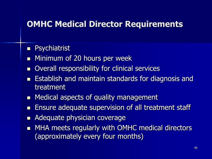 OMHC Medical Director Requirements