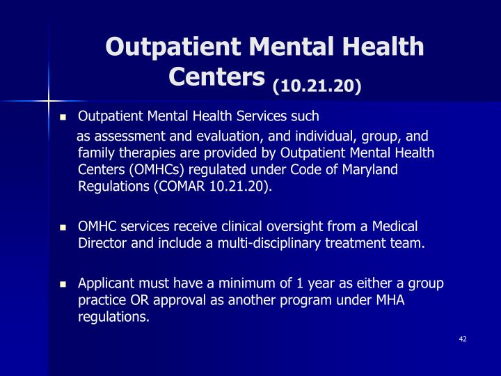 Outpatient Mental Health Centers
