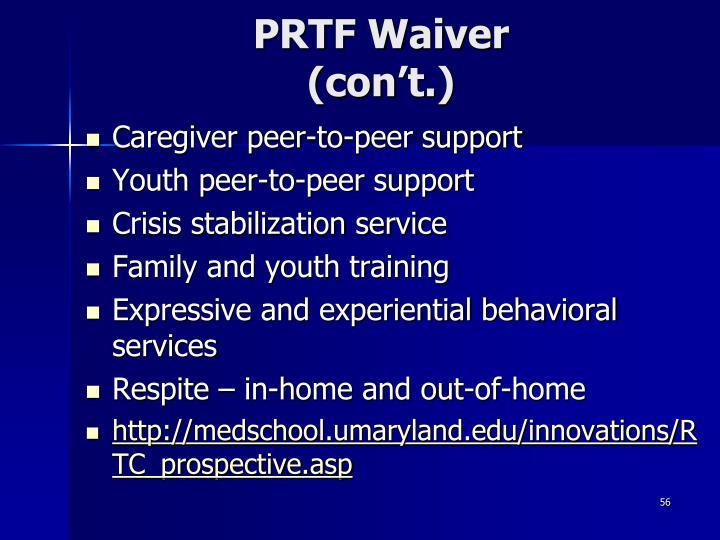 PRTF Waiver