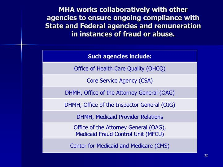 MHA works collaboratively with other agencies to ensure ongoing compliance with State and Federal agencies and remuneration in instances of fraud or abuse.