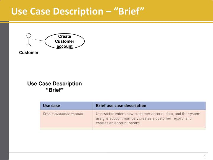 "Use Case Description – ""Brief"""