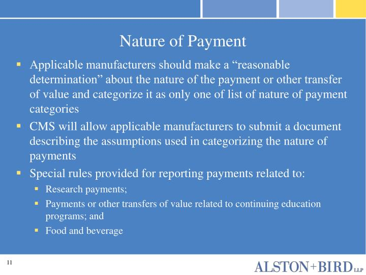 Nature of Payment