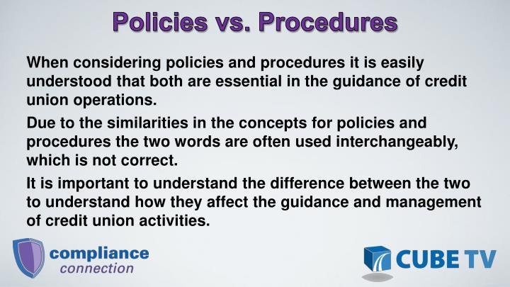 Policies vs. Procedures