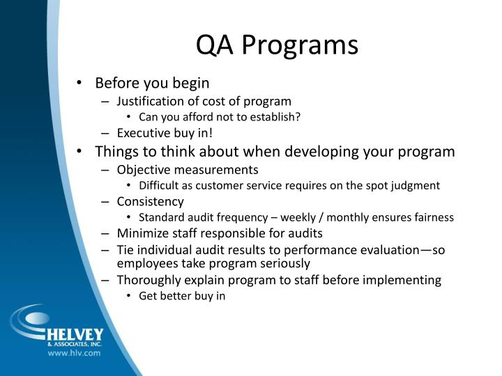QA Programs