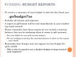 funding budget reports