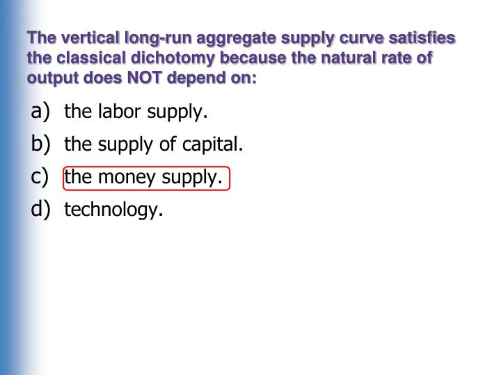 The vertical long-run aggregate supply curve satisfies the classical dichotomy because the natural rate of output does NOT depend on: