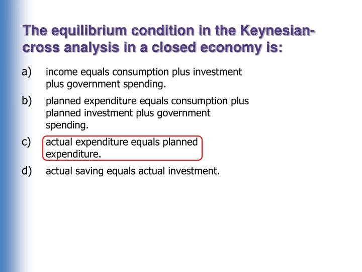 The equilibrium condition in the Keynesian-cross analysis in a closed economy is: