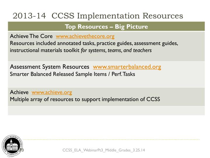 2013-14  CCSS Implementation Resources