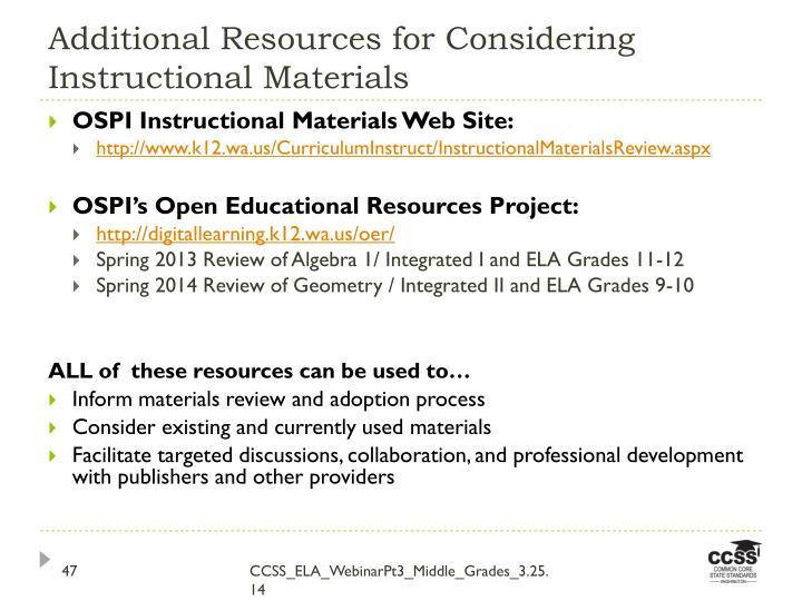 Additional Resources for Considering Instructional Materials