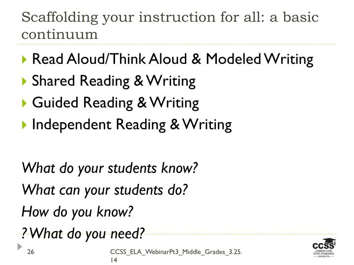Scaffolding your instruction for all: a basic continuum