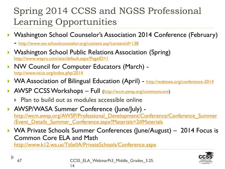 Spring 2014 CCSS and NGSS Professional Learning Opportunities