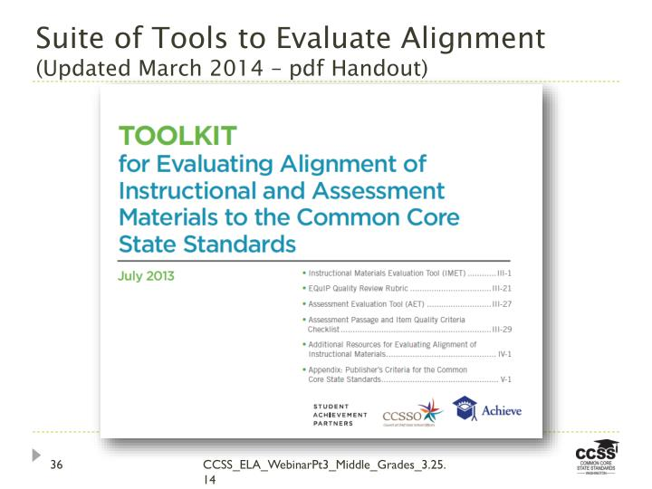 Suite of Tools to Evaluate Alignment