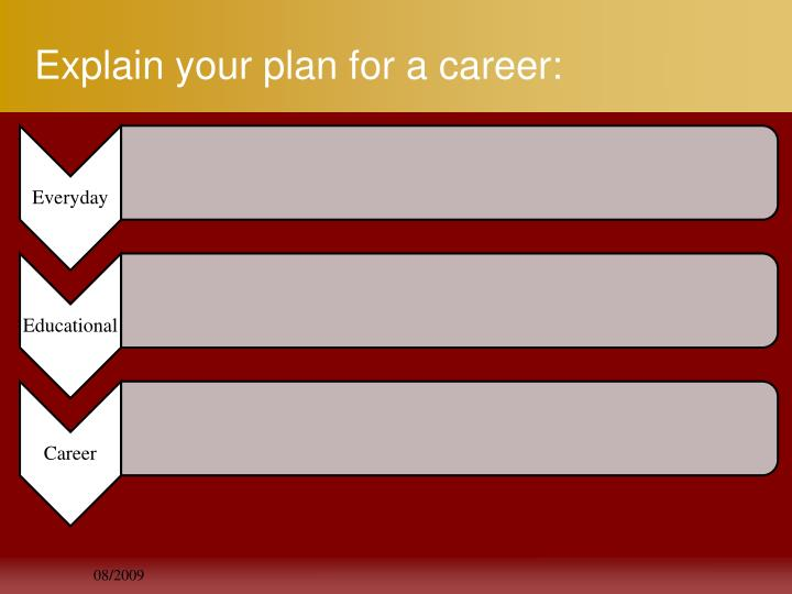 Explain your plan for a career: