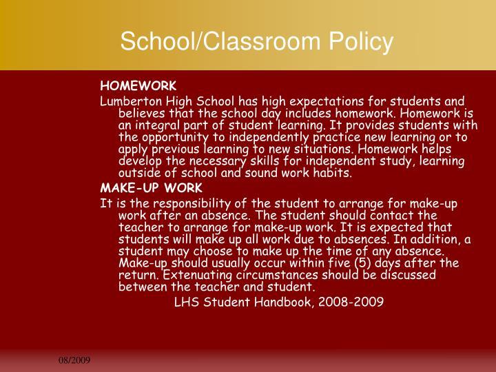 School/Classroom Policy