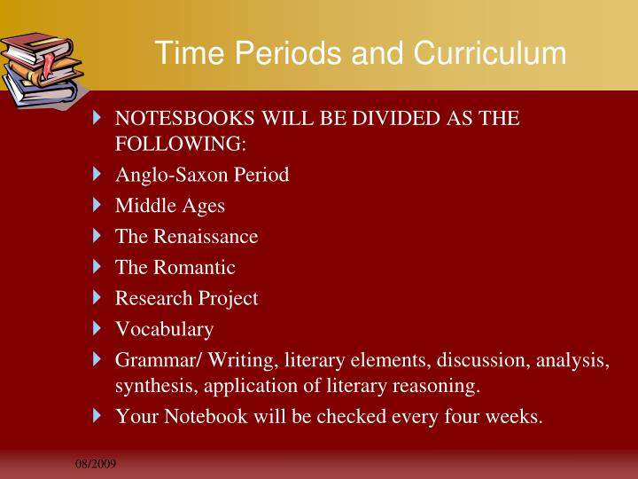 Time Periods and Curriculum