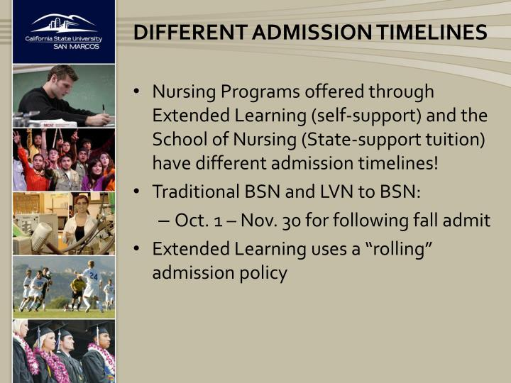 Different admission timelines