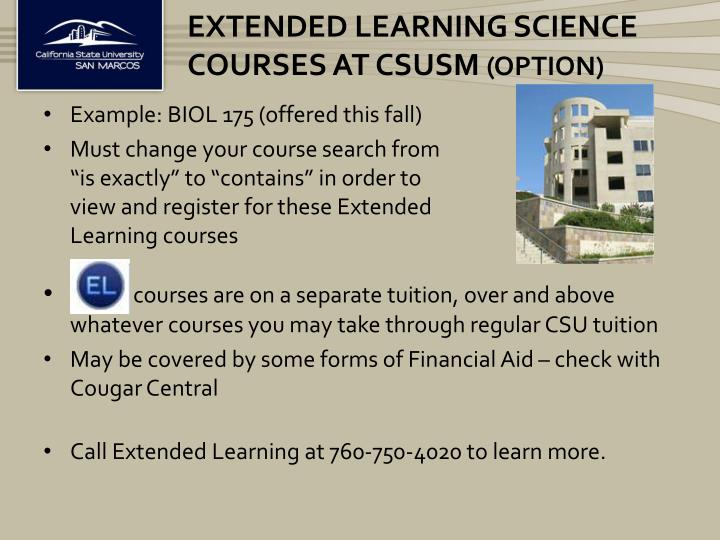 ExTENDED Learning Science courses at Csusm