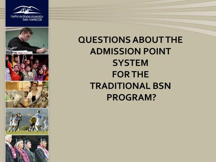 Questions about the Admission point system