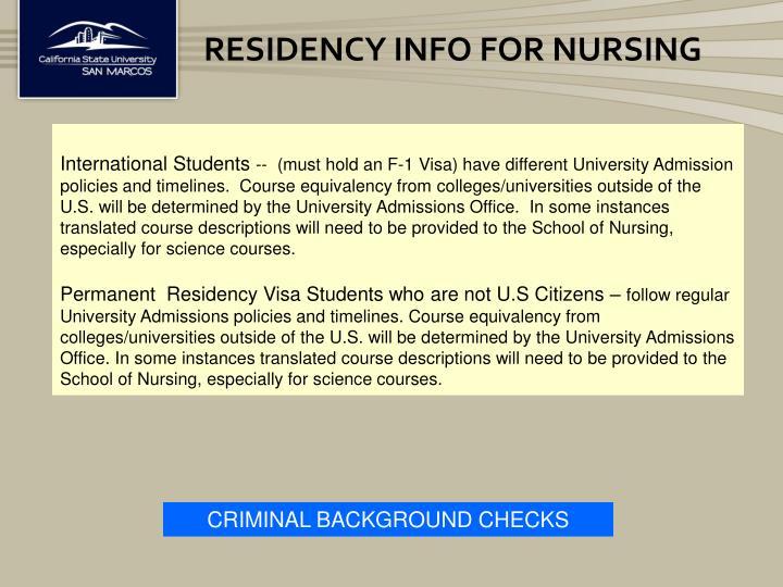 Residency Info for Nursing