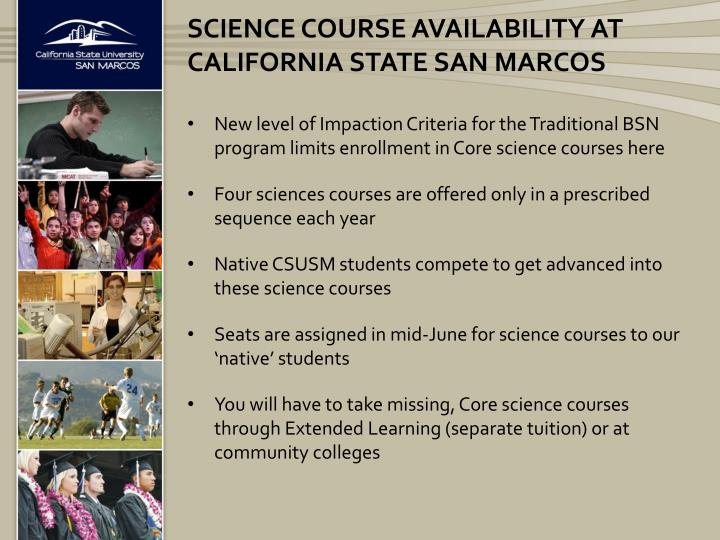 Science course availability at California state san Marcos