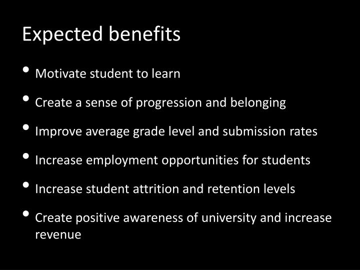 Expected benefits