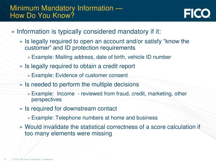 Minimum Mandatory Information —