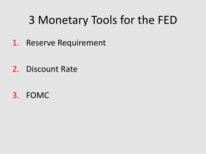 3 Monetary Tools for the FED