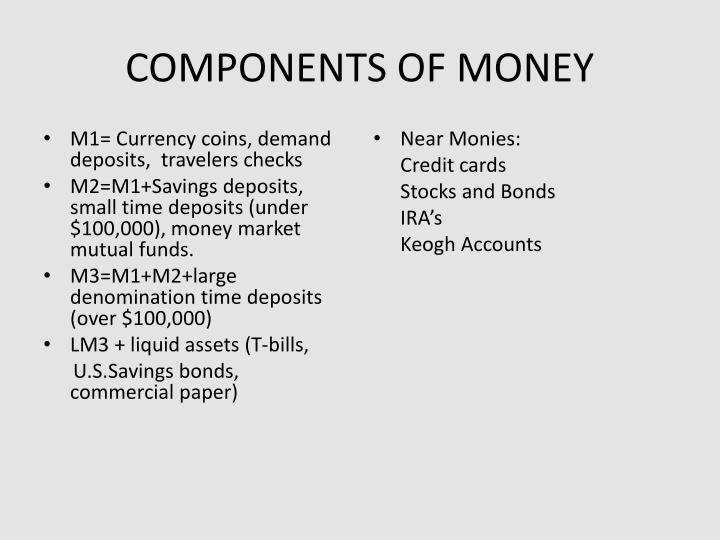 M1= Currency coins, demand deposits,  travelers checks