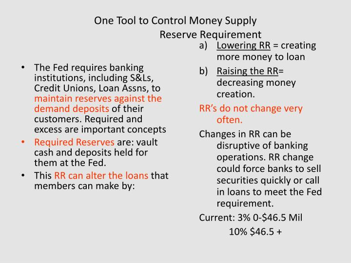 One Tool to Control Money Supply